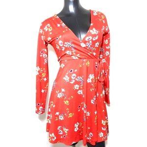 ASOS Floral Faux Wrap Red Dress Cherry Blossom